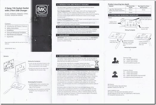 Instruction leaflet for MK K24343