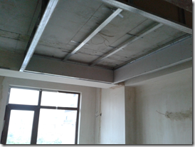 Ceiling under construction in bedroom 2