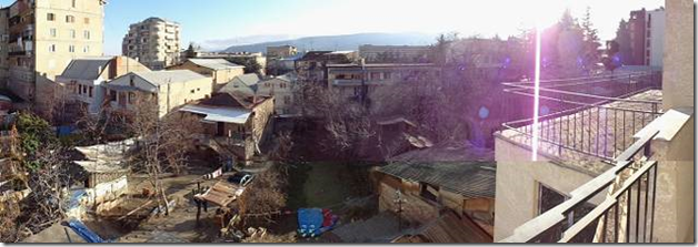 Panorama view from living room balcony
